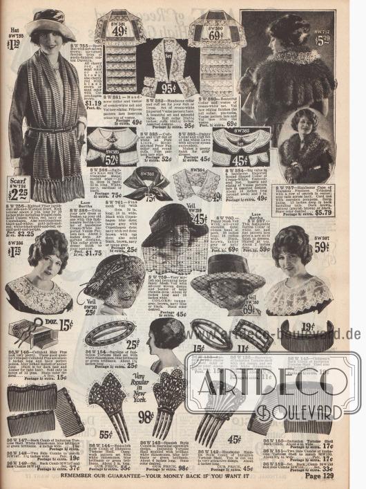 Katalogseite mit Schnäppchen wie einem Schal, Garnituren für Kragen und Ärmelaufschläge aus Spitze, einem Cape aus Maraboufedern, Hutschleiern, Haarnadeln, Haarspangen und schmuckvollen Haarkämmen.