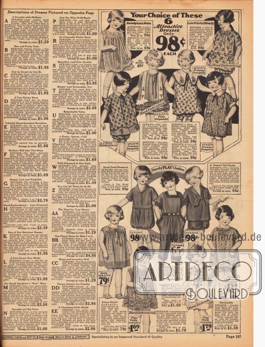 """Kleidchen mit passenden Pumphöschen (engl. """"bloomer dresses"""") für 2 bis 6-jährige Mädchen aus Spitzenstoff, Barchent (grobes Mischgewebe aus Baumwolle und Leinen), Seidengeweben, Organdy, feinen Schleierstoffen oder Charmeuse. Viele der Stoffe sind bunt gemustert, die Kleider bestickt und auch mit Rüschchen garniert.In der Mitte befinden sich des Weiteren zwei beständige Spielanzüge und ein Overall für Mädchen aus widerstandfähigen, dicken Baumwollgeweben."""