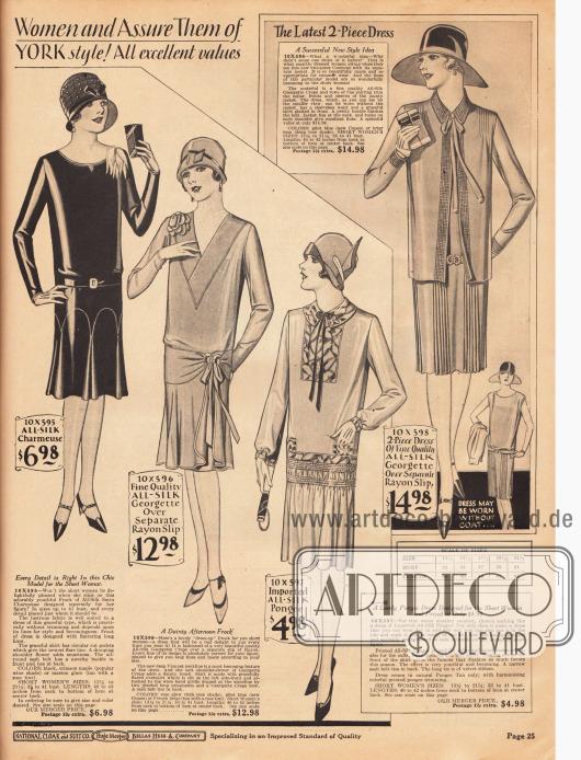 Einfache Tages- und Nachmittagskleider sowie ein leichtes Sommerkostüm für klein gewachsene Damen mit einer Körpergröße von weniger als 5 feet 3 inch (etwa 1,60 cm). Die Kleider sind aus Seiden-Charmeuse, Seiden-Georgette und Rayon sowie importiertem Seidengewebe. Die ersten drei Kleider zeigen einen glockigen Faltenwurf, während der Rock des Sommerkostüms schmale Plisseefältchen aufweist. Das Kleid des Kostüms ist zudem ärmellos und wird mit einer hüftlangen Jacke getragen. Das dritte Kleid zeigt eine Westengarnitur, einen Kragen, Ärmelaufschläge und ein Gürtelband aus farbig abstechendem Seidenmaterial.