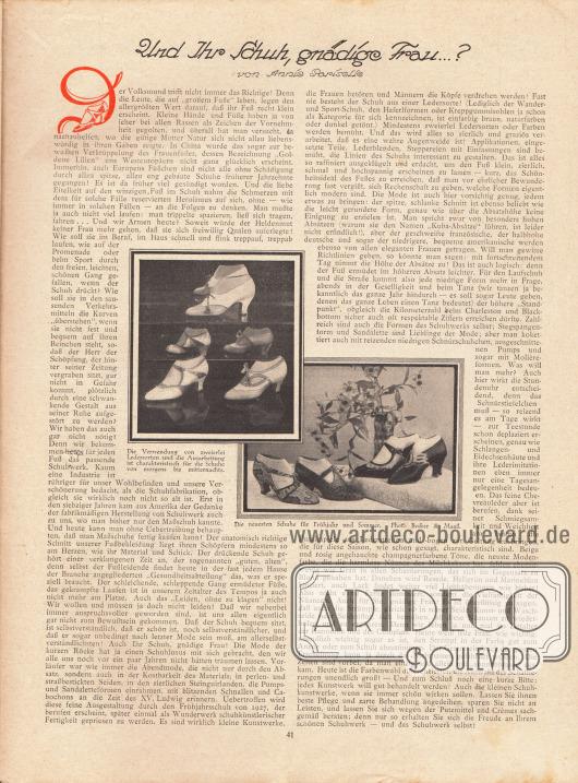 Artikel:Pariselle, Annie, Und Ihr Schuh, gnädige Frau...?Mit zwei Fotografien der neuesten Schuhmodelle. Gerade die Verwendung von zweierlei Ledersorten und die Ausarbeitung sind charakteristisch für die Schuhmode im Frühjahr und Sommer 1927.Fotos: Becker & Maaß.