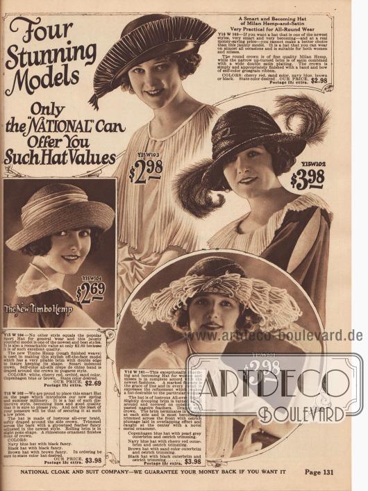 """Vier schlichte aber """"atemberaubende"""" Hüte mit kurzen gerollten Krempen aus geflochtenem Hanf und Stroh. Die Hüte sind mit Ripsband oder extravaganten Straußenfedern garniert."""