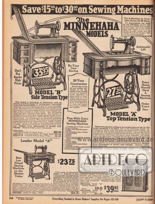 """""""Sparen Sie 15,- bis 30,- Dollar bei Nähmaschinen"""" (engl. """"Save $15,00 to $30,00 on Sewing Machines"""").Vier mechanische Nähmaschinen mit Trittbrett der Marke Minnehaha. Drei der Modelle ruhen auf einem Metallgestell, ein Gerät ist in einem elegant geschnitzten Holzschrank integriert (Nähmöbel)."""