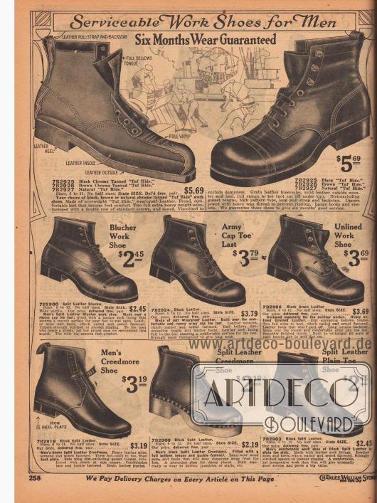 """""""Zweckdienliche Arbeitsschuhe für Männer – mit Garantie für sechs Monate"""" (engl. """"Serviceable Work Shoes for Men – Six Months Wear Guaranteed""""). Arbeitsschuhe im Armeestil aus wasserabweisendem """"Tuf Hide"""" (?), Spaltleder und Narbenleder in den Farben Schwarz oder Dunkelbraun. Die oberen Modelle sind im Derby Stil gearbeitet (Derbyschaftschnitt) und nicht wie fälschlich angegeben Blücher Modelle. Die Kappen zeigen Lochlinienverzierung. Im unteren Seitenbereich sind recht ungewöhnlich gearbeitete Arbeitsschuhe für die Arbeit in Molkereien, Wäschereien oder Pferdeställen abgebildet. Gerade das mittlere Modell zeigt eine dicke, schmutzabhaltende Holzsohle (Modellbezeichnung """"Creedmore""""). Dieser und der linke Schuh besitzen eine Verschlussschnalle."""