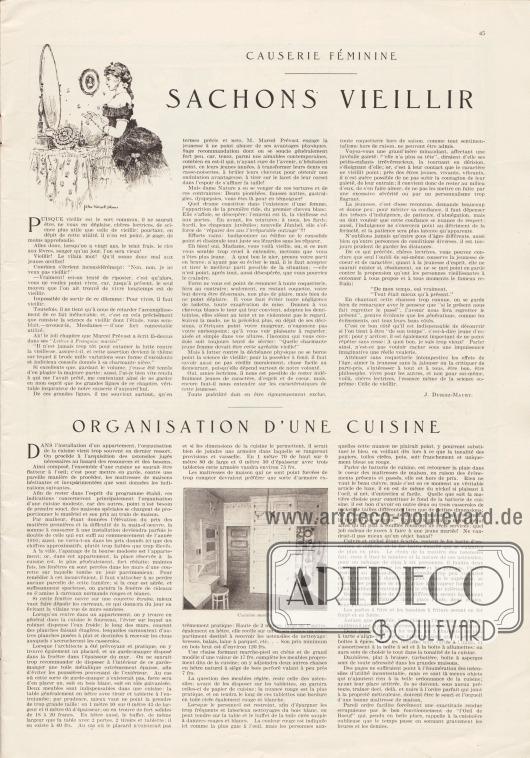 """Artikel: Duriez-Maury, J., Causerie Féminine. Sachons Vieillir; o. V., Organisation d'une Cuisine.  Die Illustration zum oberen Artikel zeigt eine Dame im Tournürenkleid (1880er Jahre), die am Toilettentisch vor einem Spiegel steht. Zum unteren Artikel wird ein kleines Foto einer Küche gezeigt mit dem Untertitel """"Cuisine modèle"""". Illustration/Zeichnung: John Wolcott Adams (1874-1925). Foto: unsigniert/unbekannt."""