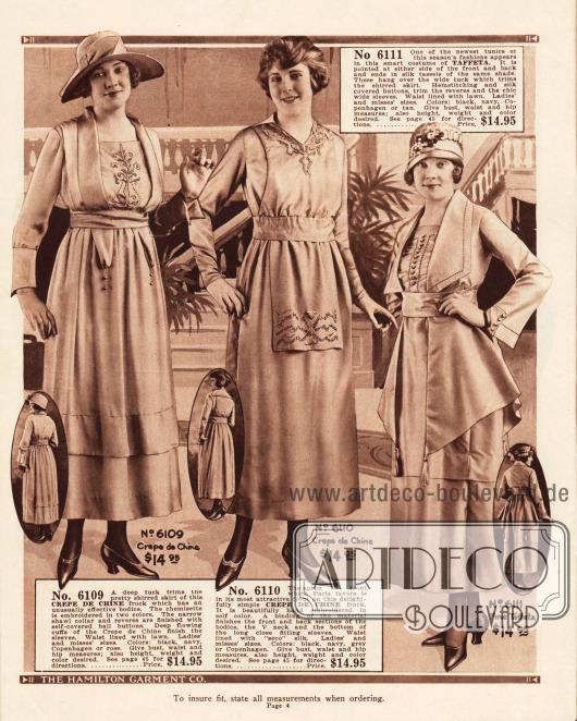 Elegante Straßenkleider aus Crêpe de Chine und Taft für je 14,95 Dollar. Zurückhaltende Verzierungen im Brustbereich, ein lätzchenartig geformtes Brustteil (mittleres Modell) und ein jackenartig geformtes Oberteil (letztes Kleid) geben jedem Modell eine individuelle Note.