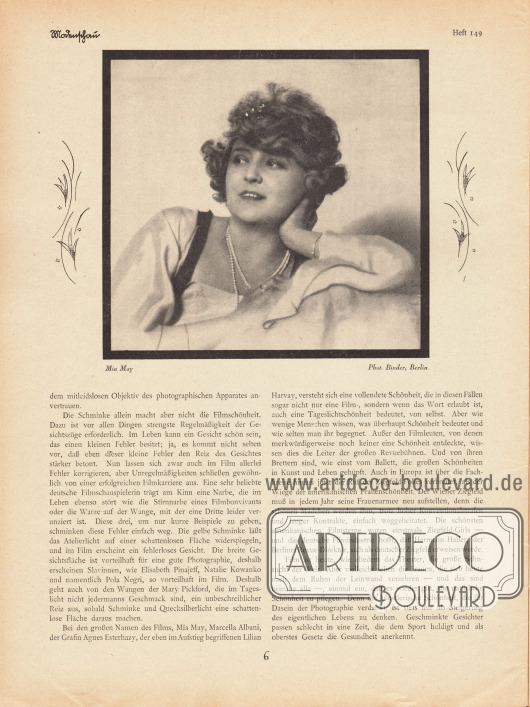 Artikel:Ulitzsch, Ernst, Moderne Frauenschönheit.Mit einer Fotografie der österreichischen Stummfilmschauspielerin Mia May (1884-1980).Foto: Atelier Binder, Berlin.