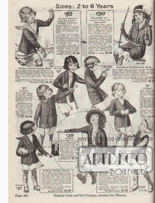 """""""Größen: 2 bis 6 Jahre"""" (engl. """"Sizes: 2 to 6 Years""""). Strickpullover und Strickjacken bzw. Cardigans aus Kammwolle, matt schimmernder, merzerisierter Baumwolle oder Angorawolle für Mädchen zwischen 2 und 6 Jahren. Die Pullover besitzen teilweise Matrosenkragen mit Kordeln und Pompons bzw. Quasten oder sind kragenlos. Die Strickjacken besitzen aufgesetzte Taschen, oft breite Strickgürtel. Eine Jacke mit Smokingkragen (""""tuxedo model"""")."""