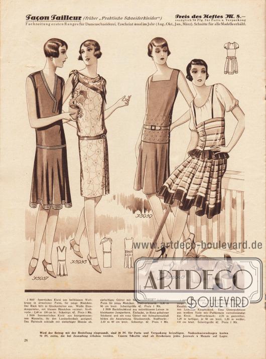 5937: Sportliches Kleid aus hellblauem Wollkrepp in ärmelloser Form, für junge Mädchen. Der Rock fällt in Glockenfalten aus. Weiße Blendengarnitur, mit blauem Bändchen verziert.5938: Sommerliches Kleid aus buntgemustertem Musselin, für den Landaufenthalt geeignet. Das Halstuch schließt mit einfarbiger Blende ab, einfarbiger Gürtel mit Schnallenschluß. Schlichte Form für junge Mädchen.5939: Backfischkleid aus mittelblauem Leinen in kleidsamer Jumperform. Einfache, in Rosa gehaltene Stickerei und ein rosa Gürtel mit Schnallenschluß bilden die Ausstattung. Glockenrock.5940: Dirndlkleid aus bedrucktem Kreton für junge Mädchen. Für das Schößchen und die Randblende ist einfarbiges Material verwendet. Am Leibchen Knopfschluß. Eine Unterziehbluse aus weißem Voile mit Puffärmeln vervollständigt das Kleid.