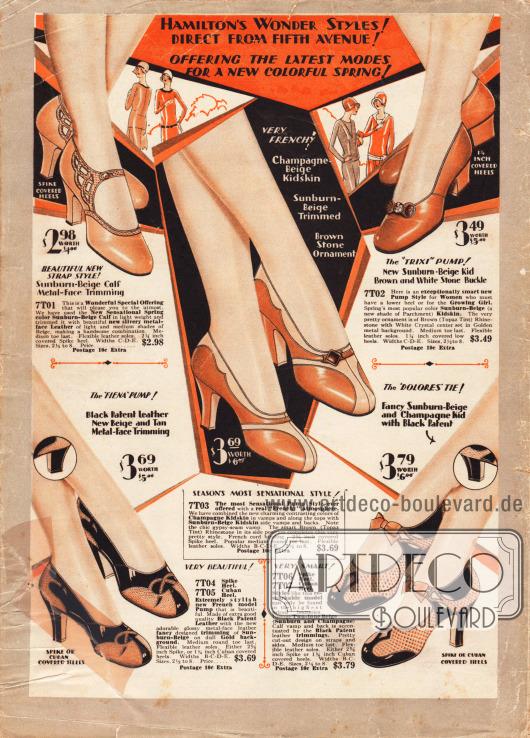 """Rückseite des Katalogs im Zweifarbdruck (Schwarz und Rot). Pumps und Schnallenschuhe mit Riemchen aus Lackleder, Ziegenleder und Rindsleder. Alle Modelle sind mit zwei verschiedenfarbigen Ledersorten kombiniert, so dass unterschiedliche Ornamente möglich werden und jedes Paar seinen eigenen, besonderen Reiz erhält. Schmale, spitze Absätze (engl. """"spike heels"""") sind 1929 en vogue. Nur das Modell oben rechts besitzt niedrige Gehabsätze und ist aus einem einfarbigen """"Sunburn-Beige"""" Leder in hergestellt. Ein Strassstein dient jedoch als Ornament."""