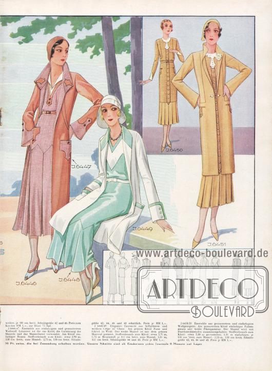J 6446/47: Ensemble aus einfarbigem und gemustertem Wollstoff. Letzterer ist für das Kleid, die Garnierung des Mantels und das Mantelfutter verwendet. Am Kleid einfarbiger Besatz. Stoffverbrauch zum Kleid: etwa 2,90 m, 130 cm breit, zum Mantel: 2,75 m, 130 cm breit. Schnittgröße 42, 44, 46 und 48 erhältlich. Preis je RM 1,-. J 6448/49: Elegantes Ensemble aus hellgrünem und weißem Crêpe de Chine. Am grünen Kleid Passe und Gürtel in Weiß. Der weiße Mantel ist mit dem grünen Material garniert. Stoffverbrauch zum Kleid: etwa 3,70 m, 0,75 m Besatzstoff, je 100 cm breit, zum Mantel: 3,10 m, 100 cm breit. Schnittgröße 44 und 48. Preis je RM 1,-. J 6450/51: Ensemble aus gemustertem und einfarbigem Wollgeorgette. Am gemusterten Kleid einfarbiger Faltenansatz und weiße Pikeegarnitur. Der Mantel wird mit Durchsteckknöpfen zusammengehalten. Stoffverbrauch zum Kleid: etwa 1,80 m gemusterter, 1,30 m einfarbiger, je 130 cm breit, zum Mantel: 2,35 m, 130 cm breit. Schnittgröße 42, 44, 46 und 48. Preis je RM 1,-. [Seite 26e]