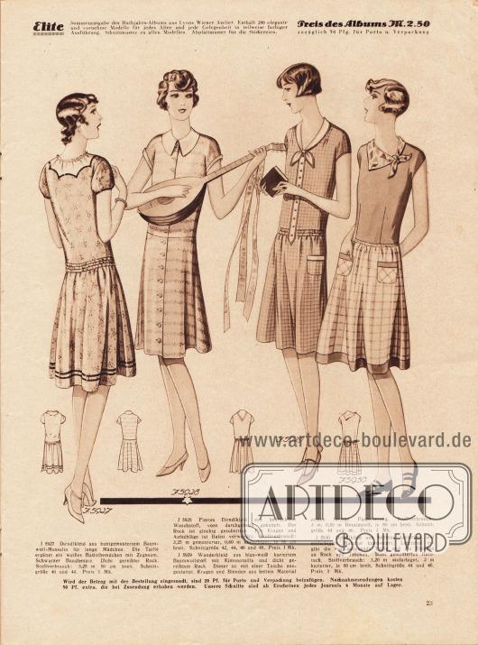 5927: Dirndlkleid aus buntgemustertem Baumwoll-Musselin für junge Mädchen. Die Taille ergänzt ein weißes Batisthemdchen mit Zugsaum. Schwarzer Bandbesatz. Dicht gereihter Rock.5928: Flottes Dirndlkleid aus bedrucktem Waschstoff, vorn durchgehend geknöpft. Der Rock ist glockig geschnitten. Für Kragen und Aufschläge ist Batist verwendet.5929: Wanderkleid aus blau-weiß kariertem Baumwollstoff mit Kimonotaille und dicht gereihtem Rock. Dieser ist mit einer Tasche ausgestattet. Kragen und Blenden aus hellem Material zeigen farbige Paspelierung.5930: Dirndlkleid aus hellblau kariertem und einfarbigem Material kombiniert. Letzteres ergibt die eng anliegende Taille und die Blenden an Rock und Taschen. Bunt gemustertes Halstuch.