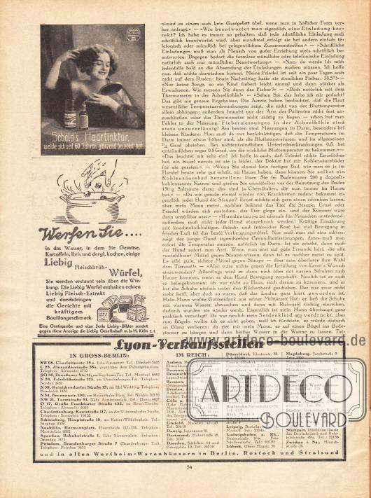 Artikel: O. V., Liebe Freundin! Ich rate Ihnen... . Werbung: Sebald's Haartinktur; Liebig Fleischbrüh-Würfel und Extrakt, Liebig Gesellschaft mbH, Köln L 1; Lyon-Verkaufsstellen in Groß-Berlin und im Deutschen Reich.