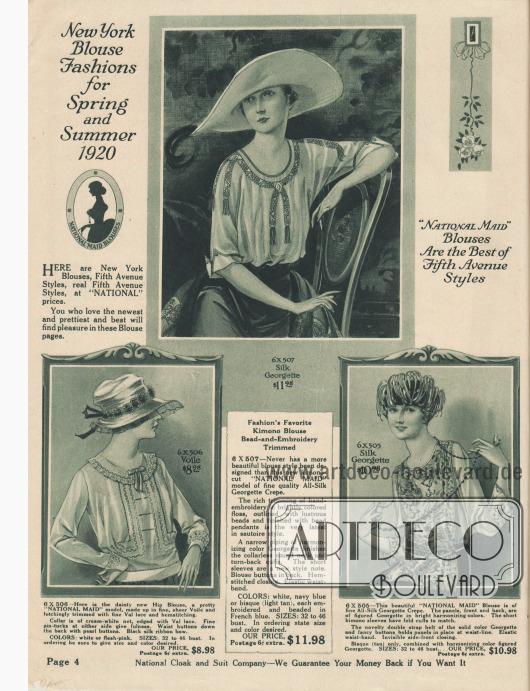 """""""New Yorker Blusenmoden für Frühling und Sommer 1920"""" und """"'National Maid' Blusen sind die besten Modelle der Fifth Avenue"""" (engl. """"New York Blouse Fashions for Spring and Summer 1920"""" und """"'National Maid' Blouses Are the Best of Fifth Avenue Styles""""). Drei besonders hochwertige Damenblusen aus Seiden-Georgette Krepp oder Voile (Schleierstoff). Die Blusen präsentieren leichte Stickereien, Spitzeneinsätze aus Valenciennesspitze, Haarbiesen, Hohlsaumstickerei, Perlmutt-Knöpfe, gemusterte Seidenbänder mit Perlen (genannt """"sautoire style"""", lange Halskette), Paspelierung oder auch Kimono-Ärmel. Die Bluse rechts unten zeigt ein langes, über die Bluse gelegtes Paneel aus gemustertem Georgette."""
