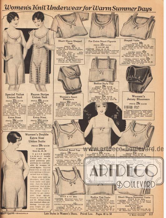"""""""Gestrickte Damenunterwäsche für warme Sommertage"""" (engl. """"Women's Knit Underwear for Warm Summer Days""""). Leichte Hemdhosen, Unterhemden und Pumphöschen aus gerippter Baumwolle oder mit matt schimmerndem Rayon durchwebter Baumwolle. Die Pumphöschen sind aus """"Balbrigan"""" Baumwolle (aus dem irischen Ort Balbriggan importiert). Die ärmellosen Hemdhosen haben weite, kurze Beinkleider. Schleifchen zieren die Ausschnitte."""