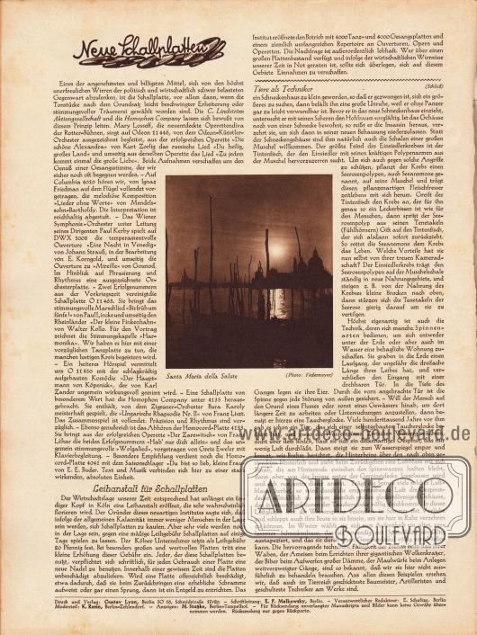 """Artikel:O. V., Neue Schallplatten&#x3B;O. V., Leihanstalt für Schallplatten&#x3B;O. V., Tiere als Techniker.In der Seitenmitte befindet sich eine Fotografie mit der Erläuterung """"Santa Maria della Salute""""&#x3B; Foto: Federmeyer.Impressum der Illustrierten Modenschau."""