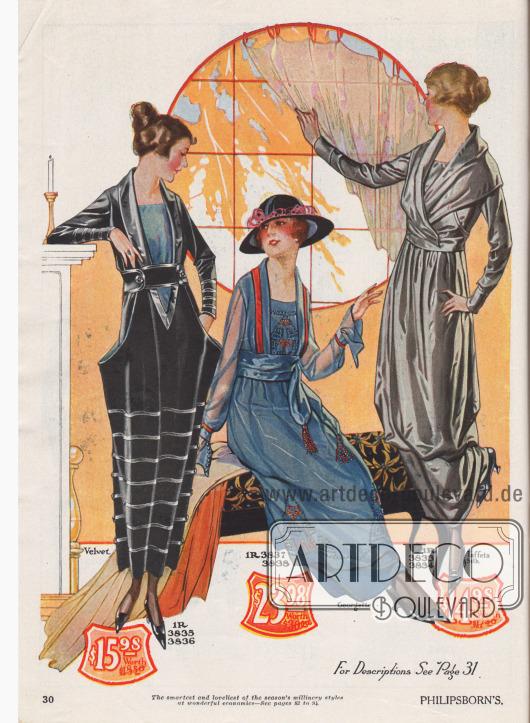 """Drei elegante Nachmittags- und Teekleider aus schwarzem Samt, französisch-blauem Georgette oder perlgrauer Taft-Seide für Damen. Das erste Kleid zeigt den 1919 sehr modischen """"peg top"""" Rock, der um die Hüfte besonders weit und unten eng geschnitten ist. Der Rock bildet seitliche Tüten. Mehrere Ringe grauer Seidentresse legen sich um Rock und Manschetten. Sehr tiefer V-förmiger Schalkragen aus Satin sowie farblich abstechende Weste. Zweifarbige, von Hand ausgeführte Perlstickerei ziert den Saum der langen Tunika sowie den Brustbereich des zweiten Kleides. Auch der breite Stoffgürtel aus Satin endet in Perlenquasten bzw. Perlfransen. Passend dazu dünne Ärmel aus duftigem, halbdurchsichtigem Stoff. Das dritte Modell zeigt einen breiten, um die Schultern gewickelten Schalkragen (hier engl. """"colonial collar""""). Der Saum, der an der Taille dicht angesetzten Tunika, ist unterhalb der Knie gerafft und drapiert. Das Kleid lehnt sich in der Machart an den Trippel- bzw. Humpelrock der frühen 1910er Jahre an."""