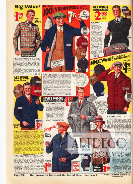 Pullover und Strickjacken (Cardigans) für Sport und kalte Tages für Männer aus Wolle und Baumwolle.
