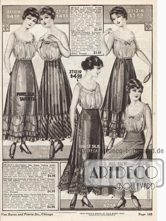 Petticoats (Unterröcke) aus merzerisierter Seide, Seiden-Jersey, Seiden-Taft, gestreifter Seide, Jersey-Seiden-Taft und Seiden-Mesaline. Viele Röcke sind rundum mit Rüschen und Volants gearbeitet.