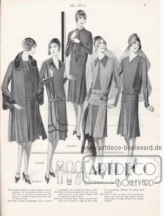 8583: Complet de deuil en kasha. Manteau s'évasant largement, col et parements inédits en loutre. Robe ornée de nervures et formant une jupe rapportée à godets. Les pans de la cravate sont en crêpe de deuil. 8584: Robe de deuil en gabardine noire, de forme asymétrique. Col et bandes en velours assorti. 8585: Robe de deuil en georgette de laine. Jupe rapportée en forme, à plis souples dégagés. Jabot et ceinture en crêpe de deuil. 8586: Robe de deuil en kasha. Parties en forme intercalées et col rabattu en crêpe de deuil. Ceinture asymétrique terminée d'un grand motif en pareil. 8587: Robe de deuil en kasha; boléro asymétrique, formant un revers en crêpe anglais. Ceinture triple garnie de petits nœuds et de boutons fantaisie.