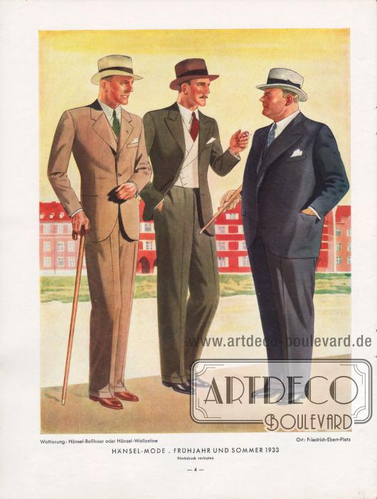 """Elegante Herrenanzüge 1933 für schlanke und stärker gebaute Männer. Die Linie zeichnet sich durch breite Schultern, eine leichte, aber deutliche Taillierung und eine schmale, aber locker geschnittene Hüfte aus. Der Schließknopf soll sich laut """"Hänsel-Echo"""" genau in der Taille befinden. """"Der meist dreiknöpfige Frühjahrs-Einreiher hat fallende, der zweiknöpfige Sommer-Einreiher steigende Fasson [Revers]."""" Zeichnung: Harald Schwerdtfeger (1888-1956)."""
