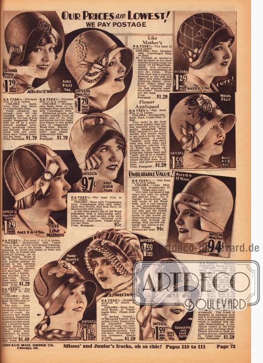 Hüte für Mädchen von 3 bis 14 Jahre aus Wollfilz. Zackig beschnittene Wollfilze als Ornament, Ripsbänder, Stickereien, Plissees und Ziernähte wurden wahlweise für jeden Hut verwendet.