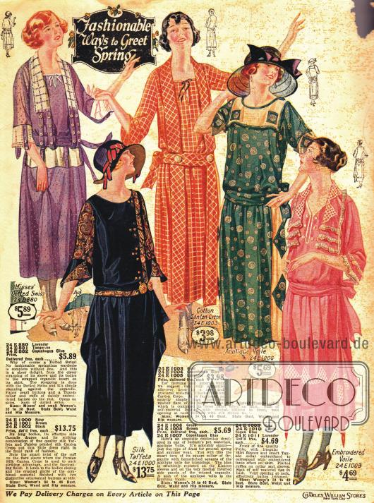 Längere Kleider für das Frühjahr mit niedrigen Taillen. Ein paar Modelle mit zipfeligen Rocksäumen.