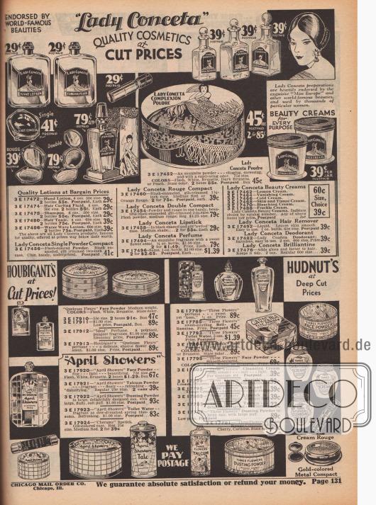Seite mit einem Angebot an Crems, Parfumen, Toilettenwässern, Rouge und Gesichtspuder der Firmen Lady Conceta, Houbigant's, April Showers und Richard Hudnut.