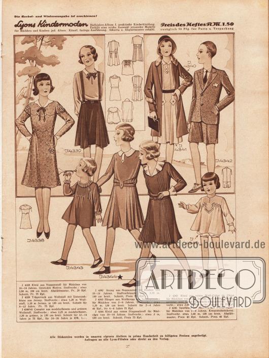 4338: Kleid aus Noppenstoff für Mädchen von 10 bis 14 Jahren. Gestickte Motive. 4339: Trägerrock aus Wollstoff mit Unterziehbluse aus Jersey. Schnitt für 8 bis 12 Jahre. 4340/41: Complet aus modefarbenem und grünem Wollstoff. Schnitt für 12 bis 16 Jahre. 4342: Anzug aus Noppenstoff für Knaben von 10 bis 14 Jahren. 4343: Hänger aus Wollkrepp mit Seidenplissees für Mädchen von 2 bis 6 Jahren. 4344: Kleid aus rotem Diagonalstoff für Mädchen von 10 bis 14 Jahren. 4345: Kleid aus rotem Woll-Crêpe de Chine für Mädchen von 8 bis 12 Jahren. Der weißen Seidengarnitur sind blaue Seidenteile eingearbeitet. 4346: Spielkleid mit Höschen aus Wollgeorgette für Mädchen von 1 bis 4 Jahren. Kreuzstichstickerei.