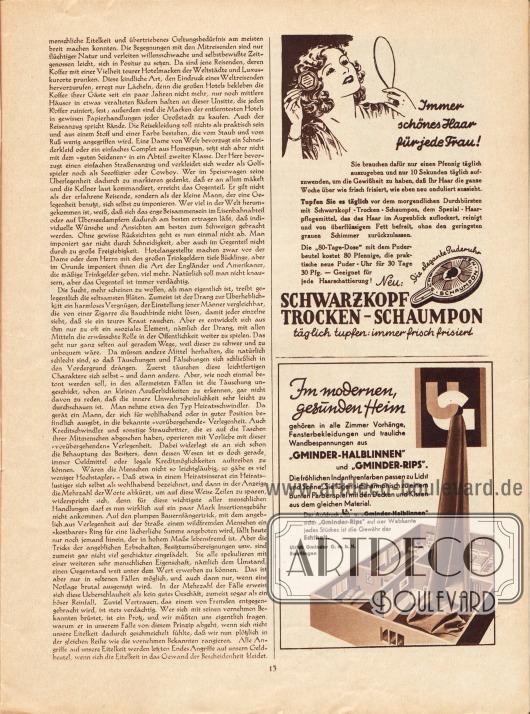 """Artikel: Hecht, Dr. Robert, Auf einen Blick durchschaut. Ein Kapitel Menschenkunde von Dr. Robert Hecht. Werbung: Schwarzkopf Trocken-Schaumpon; """"Gminder-Halblinnen"""" und """"Gminder-Rips"""", Ulrich Gminder GmbH, Reutlingen."""