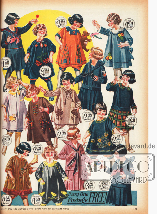 Kleidchen für kleine Mädchen aus strapazierfähigen Batist-, Woll- und Baumwollstoffen.
