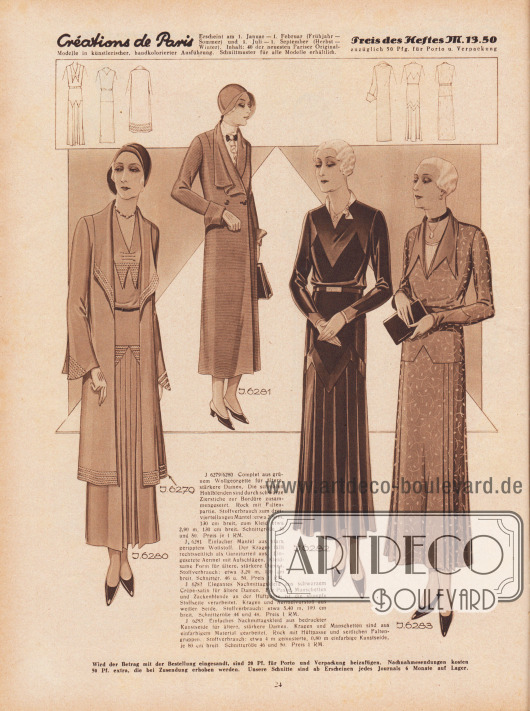 J 6279/6280: Complet aus grünem Wollgeorgette für ältere, stärkere Damen. Die schmalen Hohlblenden sind durch schwarze Zierstiche zur Bordüre zusammengesetzt. Rock mit Faltenpartie. Stoffverbrauch zum dreiviertellangen Mantel: etwa 2,80 m, 130 cm breit, zum Kleid etwa 2,90 m, 130 cm breit. Schnittgrüße 46 und 50. Preis je 1 RM. J 6281: Einfacher Mantel aus stark geripptem Wollstoff. Der Kragen fällt rechtsseitlich als Garniturteil aus. Eingesetzte Ärmel mit Aufschlägen. Kleidsame Form für ältere, stärkere Damen. Stoffverbrauch: etwa 3,20 m, 130 cm breit. Schnittgr. 46 u. 50. Preis 1 RM. J 6282: Elegantes Nachmittagskleid aus schwarzem Crêpe-satin für ältere Damen. Für Passe, Manschetten und Zackenblende an der Hüftpasse ist die stumpfe Stoffseite verarbeitet. Kragen und Ärmelvorstoß aus weißer Seide. Stoffverbrauch: etwa 5,40 m, 100 cm breit. Schnittgröße 44 und 48. Preis 1 RM. J 6283: Einfaches Nachmittagskleid aus bedruckter Kunstseide für ältere, stärkere Damen. Kragen und Manschetten sind aus einfarbigem Material gearbeitet. Rock mit Hüftpasse und seitlichen Faltengruppen. Stoffverbrauch: etwa 4 m gemusterte, 0,80 m einfarbige Kunstseide, je 80 cm breit. Schnittgröße 46 und 50. Preis 1 RM. [Seite] 24