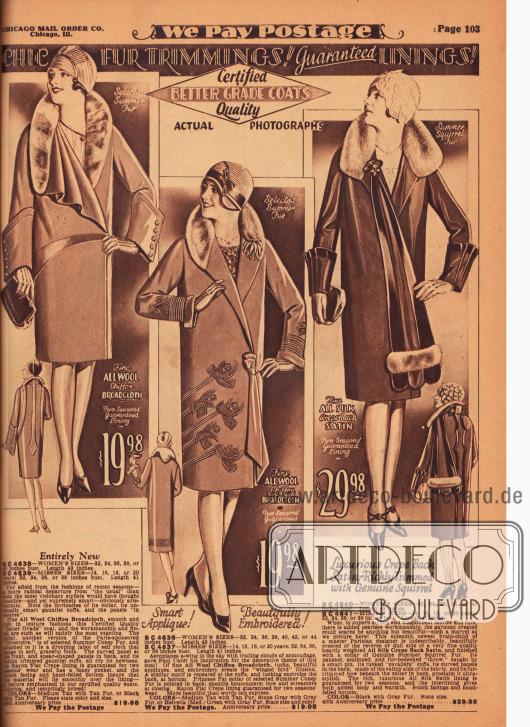 Drei luxuriöse Damenmäntel für das Frühjahr aus Woll-Chiffon-Breitgewebe und Seiden-Satin Krepp. Sommerfell des Kaninchens und des Eichhörnchens diente als Verbrämung der Mäntel. Der erste Mantel besitzt einen einseitig drapierten Schalkragen und extravagant geformte Ärmelmanschetten, die mit dem Futterstoff von der Innenseite des Mantels belegt wurden. Der Futterstoff diente auch als Paneelmaterial. Der mittlere Mantel zeigt Applikationen und Ornamente in Form von Flügeln sowie Biesen. Schleifenartig geformte Bänder als Verschluss sowie eine künstliche Ansteckblume. Das recht extravagante dritte Modell präsentiert interessante Ärmelmanschetten. Die freischwingenden und mit einer Nadel befestigten breit aufgehenden Paneele sind besonders ungewöhnlich. Manschetten und Paneele sind mit schwarzem, glänzenden Seiden-Satin besetzt.