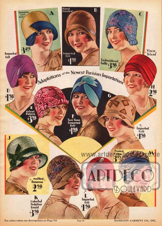 """Farbenfrohe, bunte Damenhüte und Turbane mit eng anliegenden Köpfen, die heutzutage meist als """"Topfhüte"""" betitelt werden. Die Hüte sind aus Panama Stroh (A, J), Seiden Faille (C), Samt Blättern (E), """"visca tricot"""" (H), Pedalin-Gewebe (K), bedrucktem Krepp (M) und importiertem Filz (A, B, D, F, G, L). Ripsbänder, Stickereien und strassbesetzte Hutnadeln verschönern einzelne Modelle. Die vielen unterschiedlichen Farben und Aufmachungen der Hüte ermöglichen eine farbliche Abstimmung des Hutes mit dem restlichen Kleid."""