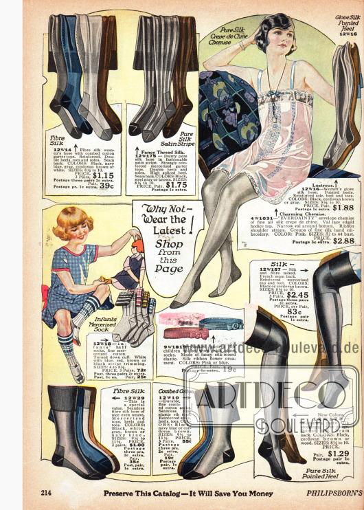 Damenstrümpfe und Strumpfbandhalter sowie Strümpfe für Männer aus Seide, gestreiftem Seiden-Satin oder merzerisierter Baumwolle mit verstärkten Fersen und Topps und ein Unterhemdchen aus Seiden Crêpe de Chine. Schachbrettmuster, Ziernähte und Musterungen dienen der Verschönerung. Die Strumpffarben sind Schwarz, Braun, Weiß, Grau und Dunkelblau. Unten links befinden sich Sportstrümpfe für Kinder aus merzerisierter Baumwolle.
