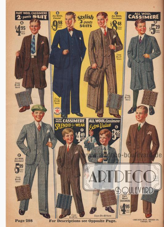 Anzüge für Jungen von 3 bis 17 Jahren.