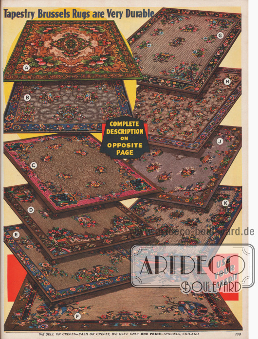 10 Brüsseler Webteppiche mit leichteren und komplexeren asiatischen Ornamenten und Musterungen, Maße von 6 x 9 bis 9 x 12 ft (183 x 234 bis 234 x 366 cm).