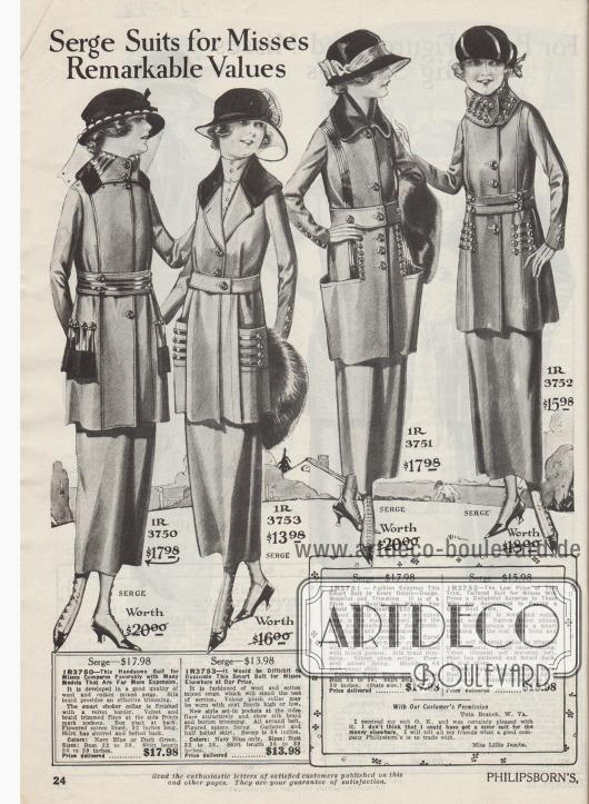 """""""Serge Kostüme für Backfische – Bemerkenswertes Preis-Leistungs-Verhältnis"""" (engl. """"Serge Suits for Misses – Remarkable Values""""). Recht günstige Kostüme aus Serge Mischgeweben (Woll- und Baumwollmischgewebe) speziell für junge Frauen im Alter von 16 bis 20 Jahre. Alle Kostüme sind von glänzenden, schwarzen Litzen und Tressen geziert sowie mit reicher Knopfgarnitur versehen. Die Kragen und Taschenpatten sind mit Samt oder Velours-Plüsch besetzt. Auffallend sind die eingelassenen, abstehenden Beuteltaschen. Die Kostümjacken sind mit bunt geblümten oder gemusterten Satinstoffen abgefüttert."""