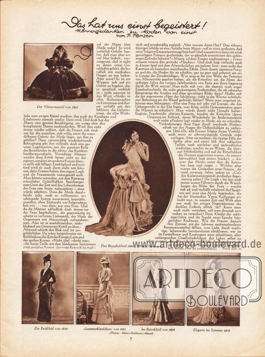 """Artikel:Parsen, P., Das hat uns einst begeistert! Männergedanken zu Moden von einst.Der Artikel wird bebildert mit sechs Fotografien von schon damals historischen Kleidern. Gezeigt werden """"Der Wintermantel von 1865"""", """"Das Besuchskleid 1884"""", """"Ein Reitkleid von 1810"""", """"'Sommerkleidchen' von 1881"""", """"Im Reisekleid von 1898"""" und """"Eleganz im Sommer 1906"""".Fotos: Paramount&#x3B; Metro-Goldwyn-Mayer (M.G.M.)."""