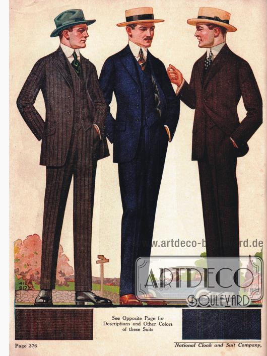 Einreihige Herrenanzüge im modisch schmalen Schnitt mit kurzen, aufsteigenden Revers und fallenden Schultern. Die beiden Herrn rechts tragen Boater Hüte aus Stroh.
