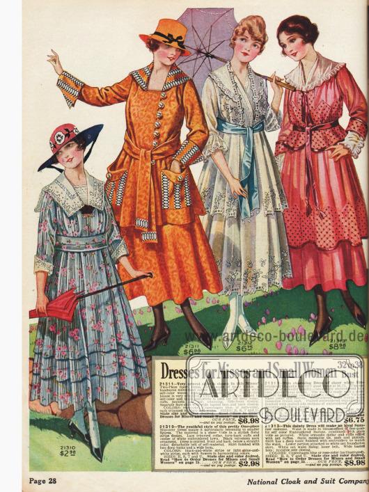 Kleider für Backfische (Teenager) und zierliche Frauen.