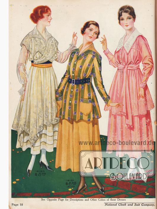 Mitte: Überaus elegantes, zweiteiliges Sportkleid aus Gabardine.