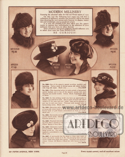 """""""Moderne Hüte – Im Angebot befinden sich die neuesten Modelle für die Herbst- und Wintersaison 1919"""" (engl. """"Modern Millinery – Featuring the advanced styles for Fall and Winter season of 1919""""). Damenhüte der mittleren bis gehobenen Preisklasse. Die winterlichen Hüte sind aus Seidenplüsch-Samt (engl. """"panne silk velvet""""), Straußenfedern, Seiden-Samt oder Biberfell-Plüsch. Die recht schlichten Hüte sind mit aufgestickten Blumen- oder abstrakten Motiven, gebauschtem Samt, kleinen Pompons, Pelzstreifen sowie schmalen Ripsbändern aufgeputzt. Unter den Hüten sind zwei Turbane (2200, 2201), ein Tam-o-Shanter (dt. Schottenmütze, 2204) oder auch ein Segelhut mit glatter, breiter Krempe (2203). Die anderen Modelle besitzen leicht nach oben oder unten gebogene oder auch schräge Krempen."""