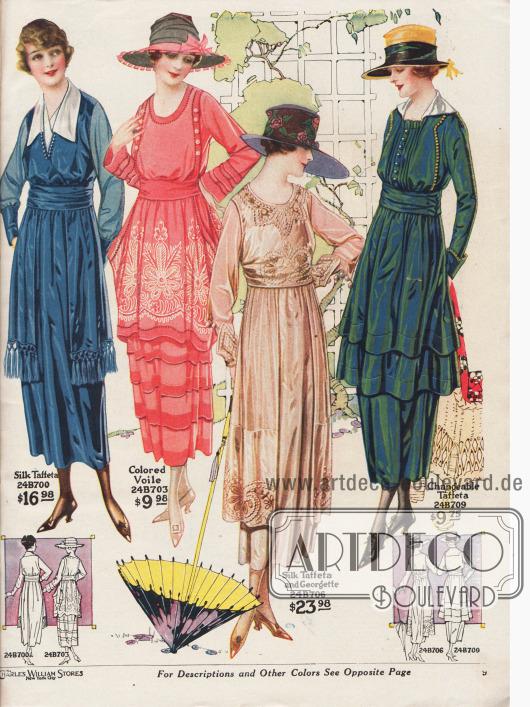 Damenkleider für den Sommer aus kopenhagenblauem Seiden-Taft, rosa Voile (Schleierstoff), hellbraunem Seiden-Taft und Georgette sowie farblich changierendem Taft. Hohlnähte und vor allem feine dekorative Stickereien zieren die beiden mittleren Modelle. Die beiden äußeren Kleider zeigen weiße Garnituren aus Satin-Messaline. Lange, seitliche Stoffpaneele mit Fransen, tütenartig gebauschte Hüften und schmale Volants tragen zur Erweiterung der Hüftpartien der Kleider bei. Der Tonnenrock ist 1919 modern. Die Mode nach dem Ersten Weltkrieg ließ die Tunika-Mode von 1914 wiederaufleben und knüpfte an die Vorkriegszeit an.