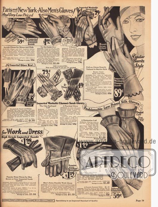 Feine und teilweise importierte Damenhandschuhe aus Rauleder, Chevreauleder (Ziegenleder), merzerisiertem Baumwollgarn und Seidengewebe. Auch bei diesen Handschuhen sind die umgelegten Ärmelstulpen bestickt worden und zudem mit verstärkenden Handrückennähten versehen worden. Die Handschuhe links mittig zeigen französische Ärmelstulpen, rechts werden Handschuhe im beliebten Biarritz Stil präsentiert. Unten links sind Arbeits- und Dresshandschuhe für Herren aus Wildleder und Pferdeleder zu sehen.