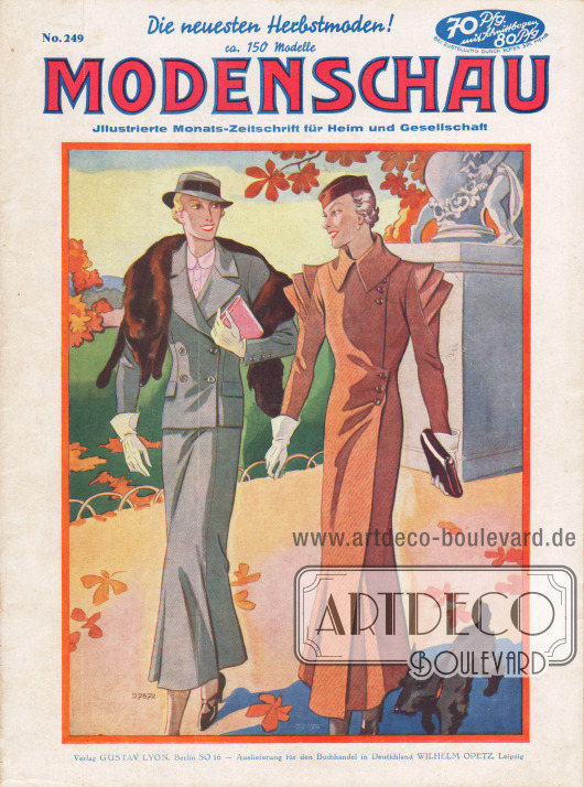 Titelseite der deutschen Illustrierten Modenschau Nr. 249 vom September 1933.  4572: Schickes Herbstkostüm aus grauem Diagonalwollstoff. Die doppelreihig geknöpfte Jacke ist im Rücken geteilt, während der Rock vorn und rückwärts Teilungen aufweist. 4573: Flotter Mantel aus grobem Wollstoff mit feinen Diagonalstreifen. Originelle Ärmelvolants.