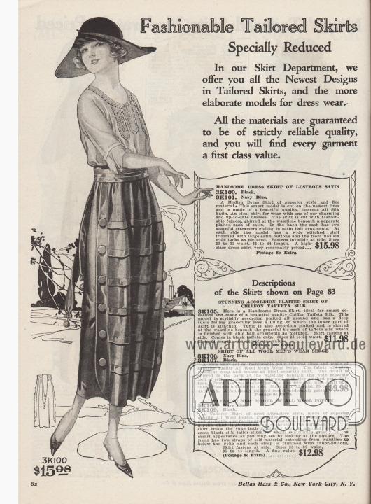 """""""Modisch geschneiderte Röcke. Speziell reduziert. In unserer Rock-Abteilung bieten wir Ihnen die neuesten Entwürfe für Schneideröcke und die ausgefallensten Modelle für besondere Anlässe an. Alle Materialien sind garantiert von absolut zuverlässiger Qualität und Sie werden feststellen, dass jedes Kleidungsstück von erstklassigem Wert ist""""  (engl. """"Fashionable Tailored Skirts. Specially Reduced. In our Skirt Department, we offer you all the Newest Designs in Tailored Skirts, and the more elaborate models for dress wear. All the materials are guaranteed to be of strictly reliable quality, and you will find every garment a first class value"""").  3K100 / 3K101: Eleganter Schneiderrock aus schimmerndem Seiden-Satin, wahlweise in Schwarz oder Marineblau, für 15,98 Dollar. Rock mit großzügig weitem Schnitt, Stoff an der Taille zusammengefasst und gerafft. Separater Stoffgürtel aus Satin mit Schleppe und Kugel-Ornamenten als Abschluss. Vorne beidseitig eingearbeitete Falten mit Satin bezogenen Knöpfen und sechs breite abgenähte Biesen. Rock mit unsichtbarem, seitlichem Verschluss."""