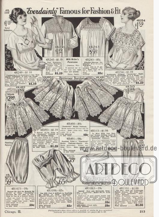 """""""'Everdainty' berühmt für Sitte & Passform"""" (engl. """"'Everdainty' Famous for Fashion & Fit""""). Nachthemden (oben) aus Nainsook (leichter Baumwollmusselin) oder Musselin, Petticoats (Mitte) aus Musselin sowie Schlupf- und Pumphöschen (unten) aus Batist und Waschsatin von der US-Marke Everdainty. Die Schlafröcke für Damen zeigen leichte Stickereien, Biesen, Reihenziehungen und Spitze. Die Unterröcke sind überreich mit Stickereien und Hohlnähten garniert. Die Pumphöschen sind mit Bändern und Gummizügen versehen."""
