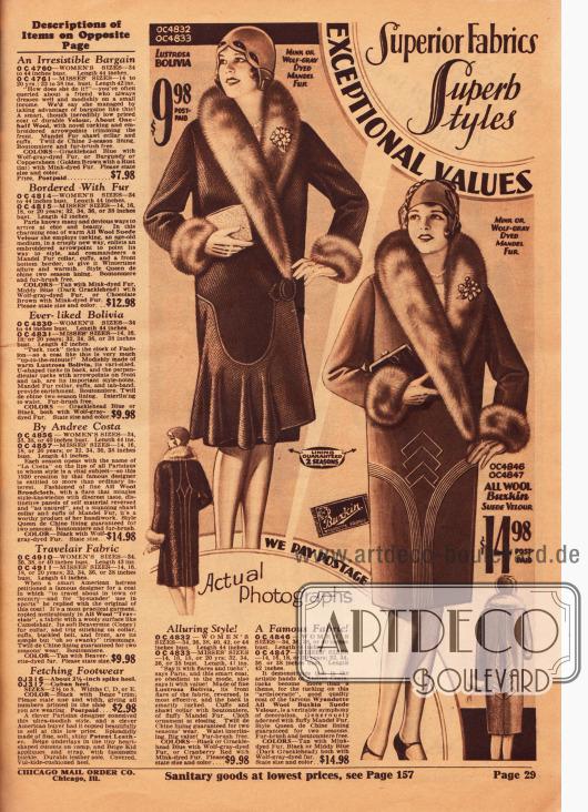 """Zwei Wintermäntel für Damen aus Bolivia (Wollgewebe) und Woll-Veloursleder. Beide Mäntel sind mit auf Wolfspelz gefärbtem """"mandel fur"""" (Wolle des chinesischen Schafes) verbrämt. Am linken Rand befinden sich die Beschreibungen für die Artikel der vorangegangenen Seite."""