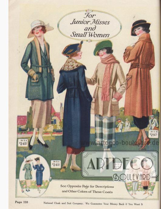 """Frühjahrsmäntel und sportliche Kurzmäntel aus Woll-Popeline, """"Goldtone Velours"""" (Mantelstoff aus leicht genoppter Wolle mit geringer Baumwollbeimischung und eingewebten Goldfäden), Woll-Silvertone (weich genopptes Wollgewebe mit eingewebten Silberfäden) sowie Woll-Polo-Gewebe für junge Frauen von 13 bis 19 Jahren oder Damen, die kleine Konfektionsgrößen benötigen. Die Mäntel präsentieren große, aufgesetzte Taschen mit entsprechend großen Taschenklappen, breite, tiefgehende Stola-Kragen mit abnehmbaren Überkragen, Zierstickereien und Ziernähte. Das Modell rechts außen mit langer, invertierter Falte im Rücken.  Die Unschärfe der Farbabbildung ist ein Druckfehler und resultiert aus den nicht genau übereinanderliegenden Farben beim Druck."""