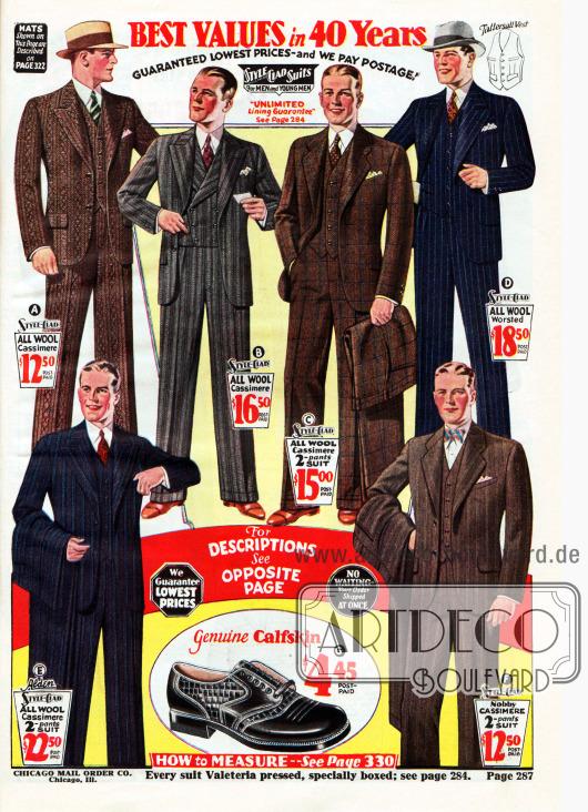 Einreihige Sakkoanzüge mit zwei Knöpfen aus Woll-Kaschmir für den Herrn. Die Musterungen reichen von Heringsmuster und Streifen (A), Nadelstreifen (D) bis hin zu grob karierten Dessins. Das zweite Modell von oben zeigt eine zweireihige Anzugweste. So gut wie alle Anzüge werden mit einem Stecktuch getragen. Unten mittig wird zudem ein Oxford für Herren aus glattem und reptilgenarbtem Kalbsleder präsentiert.